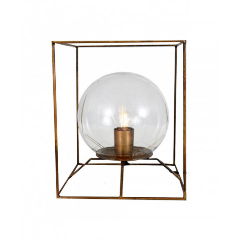 Table Lamp Globe In Cube Gold