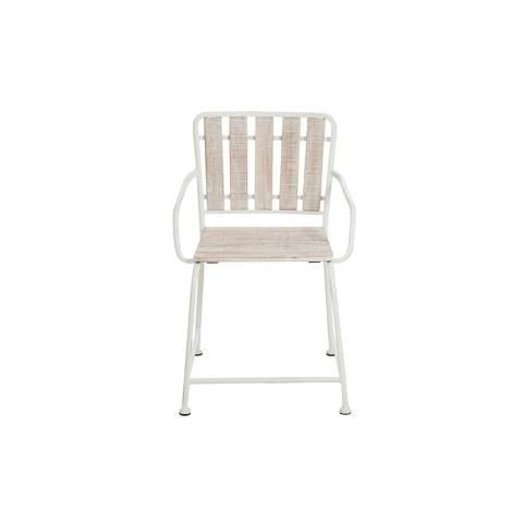 Chair Metal Wood Wash White