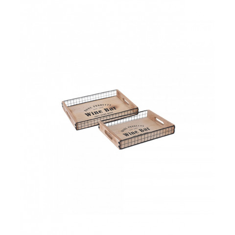 Serving Tray Wood Set Of 2...